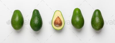 Collage of avocados with seeds on white background
