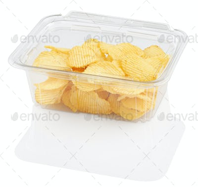 corrugated chips in a disposable food container, isolated on white with clipping path