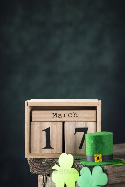 St. Patrick's day background with calendar