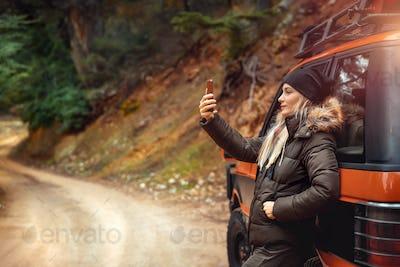 Pretty woman making selfie