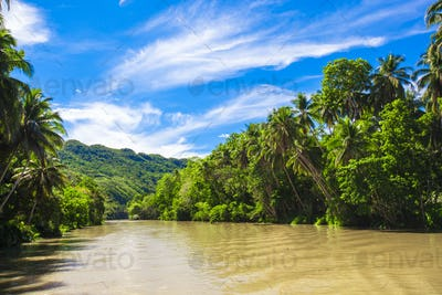 Tropical Loboc river, blue sky, Bohol Island, Philippines