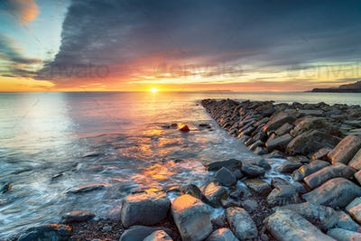 Sunset at Clavell Pier in Kimmeridge