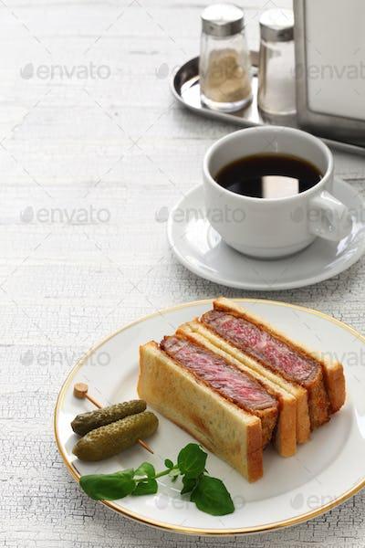 homemade beef katsu sandwich, japanese food