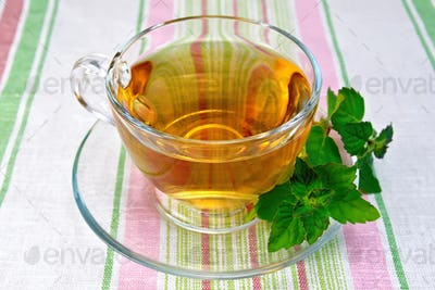 Tea with mint in cup on napkin