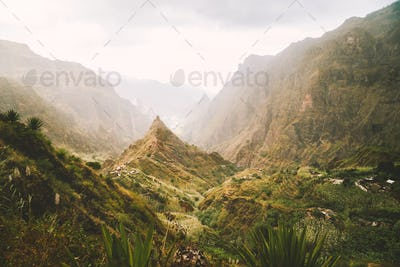 Santo Antao, Cape Verde. Xoxo in the Ribeira da Torre valley. Impressive landscape scenery in