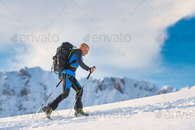 Ski mountaineering in action