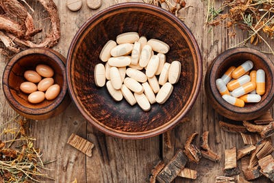 Medical pills with healing herbs