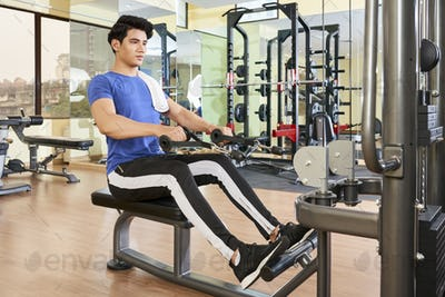 Handsome Man Exrecising In Gym