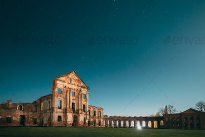 Ruzhany, Brest Region, Belarus. Night Starry Sky Above Ruzhany Palace. Famous Popular Historic