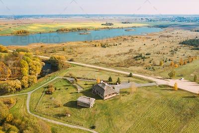 Kosava, Belarus. Memorial Museum-estate Of Tadeusz Kosciuszko. Aerial Bird's-eye View Of Famous