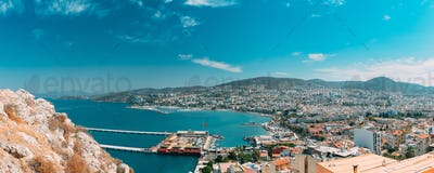 Kusadasi, Aydin, Aydın Province, Turkey. Waterfront And Kusadasi Cityscape In Sunny Summer Day