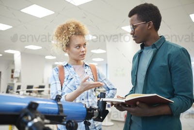 Two Students in Astronomy Lesson
