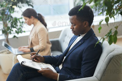 Successful African Businessman in Waiting Room