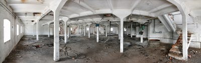 Interior of an old, closed brewery