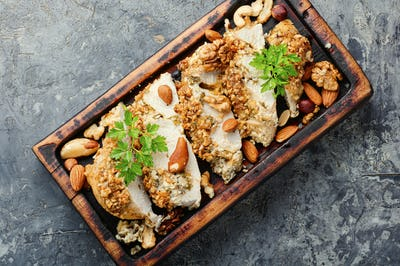 Stuffed chicken breast with nuts.