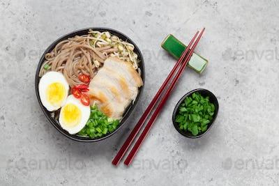 Asian noodle ramen soup