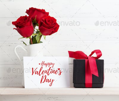 Valentines day card with gift and flowers