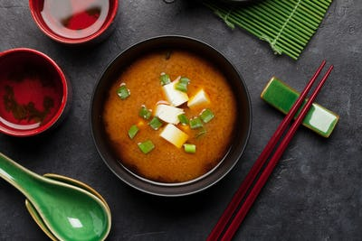 Miso traditional Japanese soup with tofu