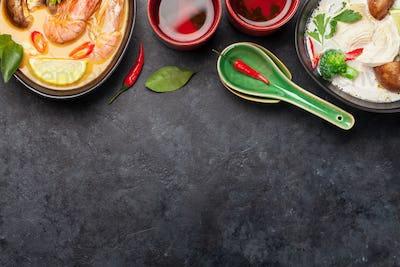 Tom Yum and Tom Kha traditional Thai soups