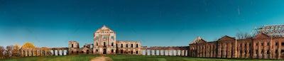 Ruzhany, Brest Region, Belarus. Night Starry Sky Above Ruzhany Palace. Famous Popular Historic