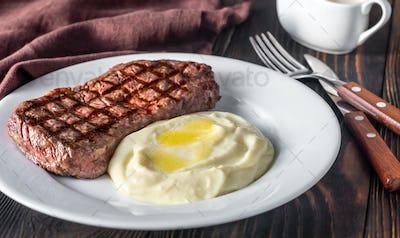 Strip steak with celery puree