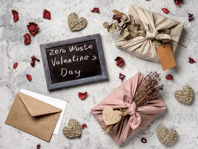 Zero waste Valentine's Day concept, copy space