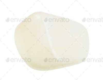 polished white agate gemstone isolated