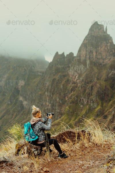Santo Antao Island Cape Verde. Female tourist enjoying breathtaking view of Ribeira da Torre