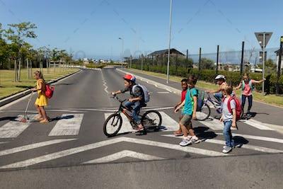 Group of schoolchildren on a pedestrian crossing