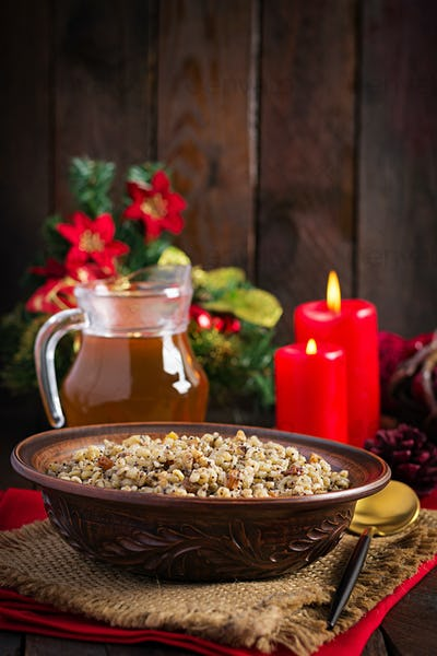 Kutya. Christmas porridge made of wheat grains, poppy seed, nuts, raisins and honey.