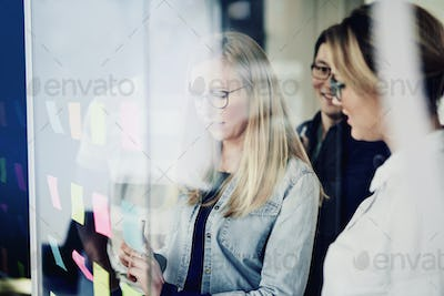 Young businesswoman brainstorming with colleagues on an office window