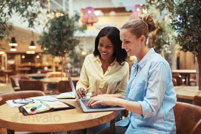 Smiling young businesswomen working together in an office lounge area