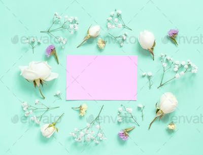 Placeit – Cream rose and text LOVE on a light pink background