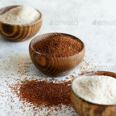 Teff flou and teff grain with