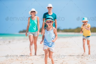 Back view of a happy family on tropical beach