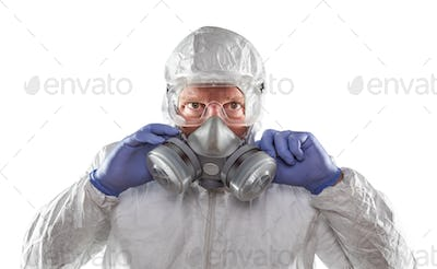 Man Wearing Hazmat Suit, Goggles and Gas Mask Isolated On White
