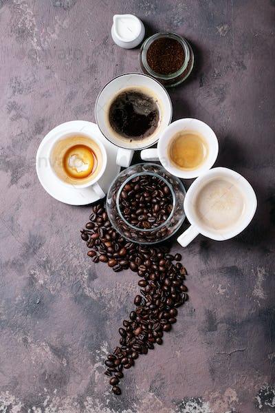 Fresh coffee in cups