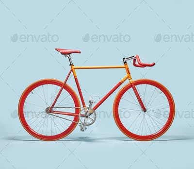 Trendy orange and red bicycle