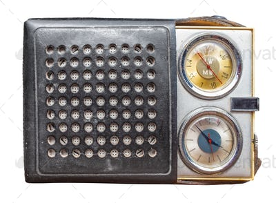 Isolated Vintage Clock Radio