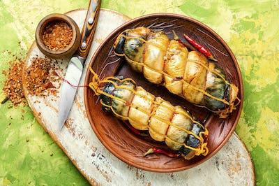 Appetizing smoked mackerel.