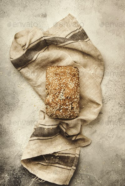 Whole wheat organic rye dark bread