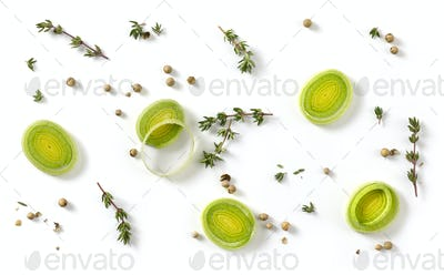 leak slices and spices on white background