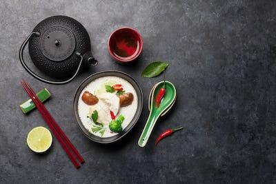 Tom Kha traditional Thai soup