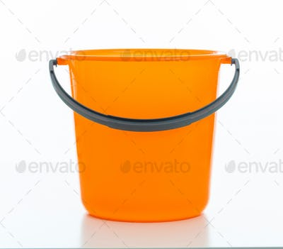 Cleaning bucket orange color isolated against white background,