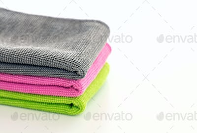 Cleaning microfiber towels isolated against white background,