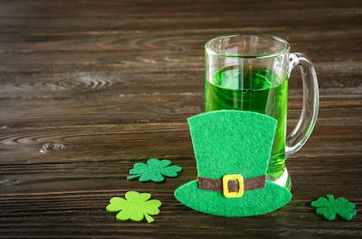 St. Patricks day set with pint of green beer
