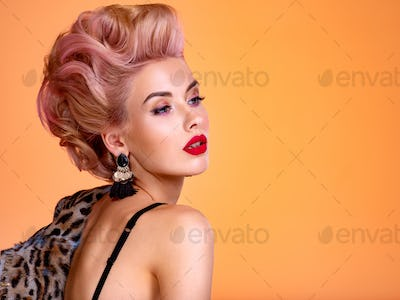 Beautiful woman with style hairstyle.