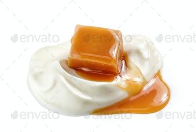 yogurt and caramel