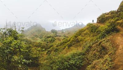 Santo Antao Island, Cape Verde. Traveler tourist hiking on mountain plateau of Paul Valley