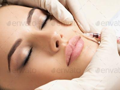 Beauty woman botox injections.